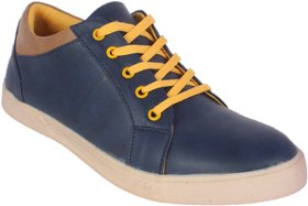 George Adam Mens Blue,Yellow Lace-Up Casual Shoes