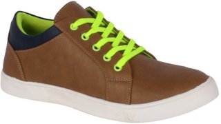 George Adam Men's Brown and Neon Green Casual Lace Up Shoe