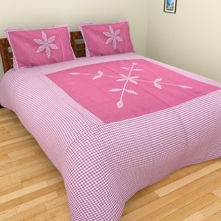 Fresh From Loom Cotton Gajri Double Bed Sheet with 2 pillow cover