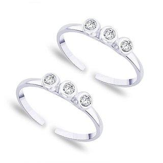 Shiny White Zircon Silver Toe Ring-TR177