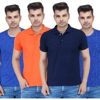 Stylogue Mens Multicolor Polo Neck Tshirt (Combo of 4)