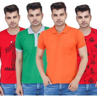 Stylogue Mens Multicolor Polo Neck Tshirt (Combo of 4)