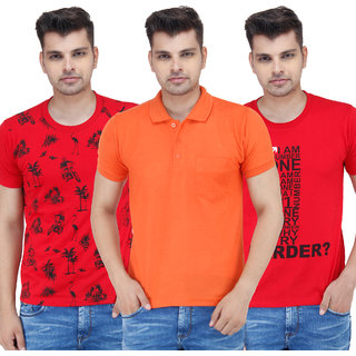 Stylogue Mens Multicolor Round Neck Tshirt (Combo of 3)