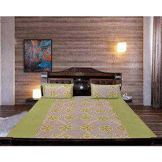 Akash Ganga Green Cotton Double Bedsheet with 2 Pillow Covers (KM653)