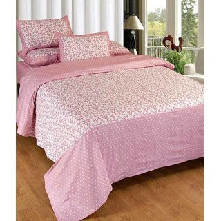 Akash Ganga Pink Cotton Double Bedsheet with 2 Pillow Covers (KM660)