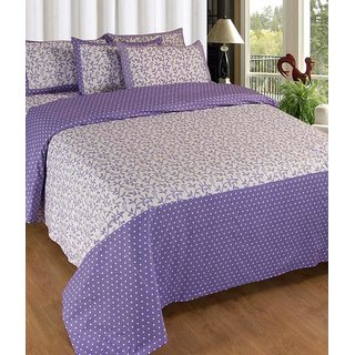 Akash Ganga Purple Cotton Double Bedsheet with 2 Pillow Covers (KM661)