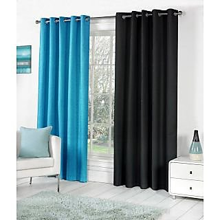 VAP MART Combo AQUABLACK Polyester Faux Silk Eyelet Door Window Curtain -5FT