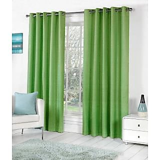VAP Mart Set of 3 Polyester Faux Silk Eyelet Window Green Curtain-5Ft