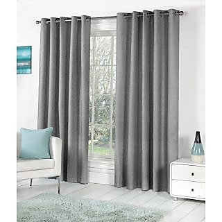 VAP Mart Set of 4 Polyester Faux Silk Eyelet Window GREY Curtain-6Ft