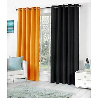 VAP MART Combo ORANGEBLACK Polyester Faux Silk Eyelet Door Window Curtain -5FT