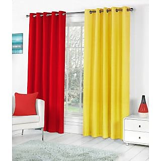 VAP MART Combo REDYELLOW Polyester Faux Silk Eyelet Door Window Curtain -7FT
