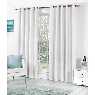 VAP Mart Set of 3 Polyester Faux Silk Eyelet Window White Curtain-6Ft