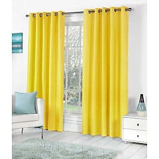 VAP Mart Set of 4 Polyester Faux Silk Eyelet Window Yellow Curtain-6Ft