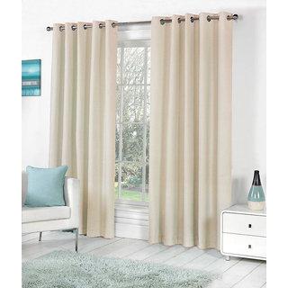 VAP Mart Set of 4 Polyester Faux Silk Eyelet Door Cream Curtain-10Ft