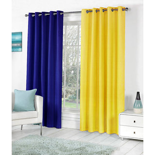 VAP MART Combo RBLUEYELLOW Polyester Faux Silk Eyelet Door Window Curtain -10FT