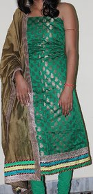 Green Chanderi Party Wear unstitched Dress Material
