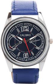 Calibro Round Dial Blue Leather Strap Quartz Watch For