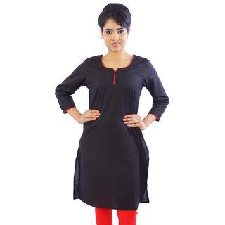 Shop Rajasthan Black Plain Cotton Stitched Kurti