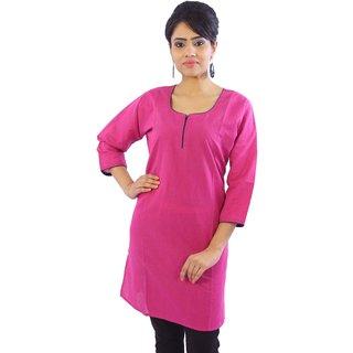 Shop Rajasthan Pink Plain Cotton Stitched Kurti