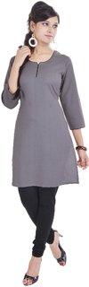 Shop Rajasthan Gray Plain Cotton Stitched Kurti
