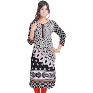 Shop Rajasthan Gray Printed Cotton Stitched Kurti