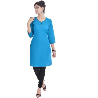 Shop Rajasthan Blue Plain Cotton Stitched Kurti