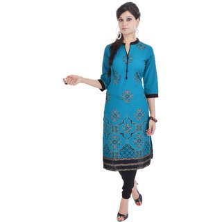 Shop Rajasthan Blue Printed Cotton Stitched Kurti