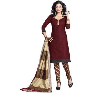 Drapes Maroon Cotton Salwar Suit Dress Material Unstitched