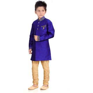 Pagli Boys Blue With Gold Semi Indo-Western For Boys - PBD6212-226_6