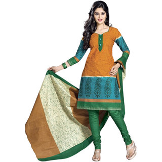 Drapes Multicolor Cotton Printed Salwar Suit Dress Material