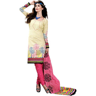 Drapes Black And Yellow Cotton Printed Salwar Suit Dress Material (Unstitched)