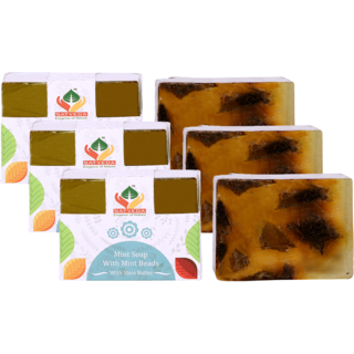 Satveda Mint Soap With Mint Beads Soap Pack Of 3