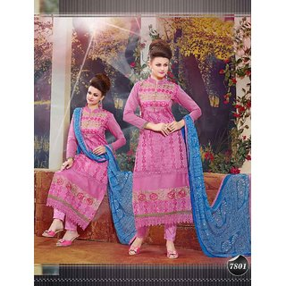 Thankar Pink Embroidered Cotton Straight Suit (Unstitched)