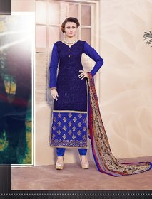 Thankar Blue And Beige Embroidered Cotton Straight Suit (Unstitched)