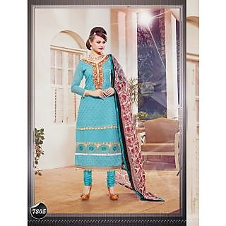 Thankar Sky And Beige Embroidered Cotton Straight Suit (Unstitched)