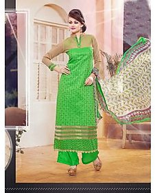 Thankar Light Green Embroidered Cotton Straight Suit (Unstitched)
