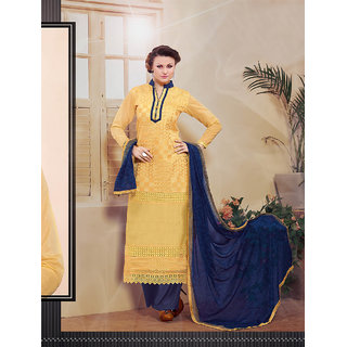 Thankar Yellow Embroidered Cotton Straight Suit (Unstitched)