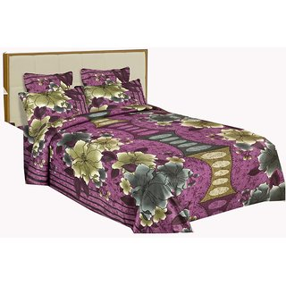 Dealstosell Multi Colour Jaipuri Sanagari Print Double Bed Sheet With 2 pillow