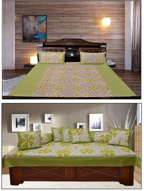 AKASH GANGA  COTTON BEDSHEET WITH 2 PILLOW COVERS  DIWAN SET 8 PCS (KM671)