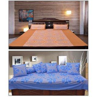 AKASH GANGA  COTTON BEDSHEET WITH 2 PILLOW COVERS  DIWAN SET 8 PCS (KM673)
