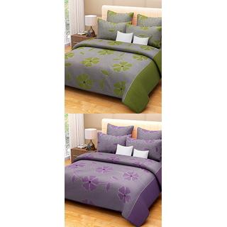 Fresh From Loom Cotton Single Bed Sheet - Set Of Two 688-2Pc-Frooti-Purple+Green-Sb
