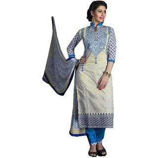 Cotton chanderi designer embroidery suit