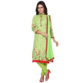 Thankar Parrot And Maroon Embroidered Georgette Straight Suit