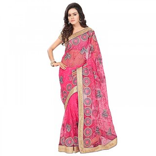 Sareemall Pink Net Embroidered Saree With Blouse