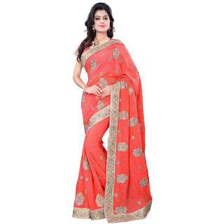 GEETA SILK MILLS Grand DAILY WEAR orange chiffon saree