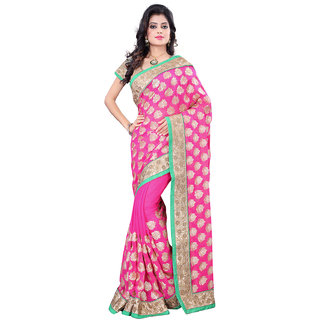 Geeta Silk Mills Khaki Raw Silk Self Design Saree With Blouse