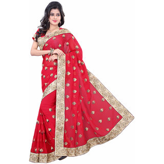 GEETA SILK MILLS Nifty DAILY WEAR red chiffon saree