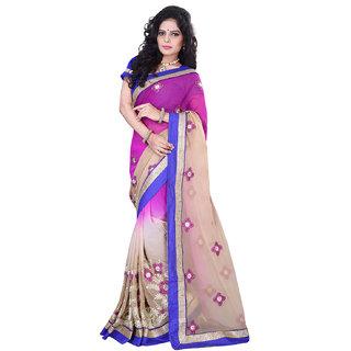 Geeta Silk Mills Multicolor Raw Silk Self Design Saree With Blouse