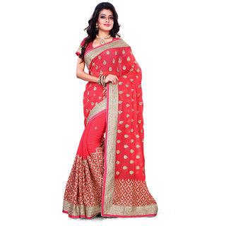 Geeta Silk Mills Khaki Brocade Self Design Saree With Blouse