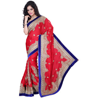 GEETA SILK MILLS Sleek DAILY WEAR red chiffon saree